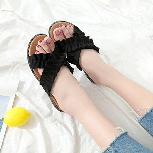 Volants à Tongs Noir Plats Plage Claquettes Tongs Chaussures Confort Bout Mode Ouvert Talons Femmes FXFWqYA