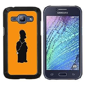 Eason Shop / Premium SLIM PC / Aliminium Casa Carcasa Funda Case Bandera Cover - Arte del carácter Amarillo Figura - For Samsung Galaxy J1 J100