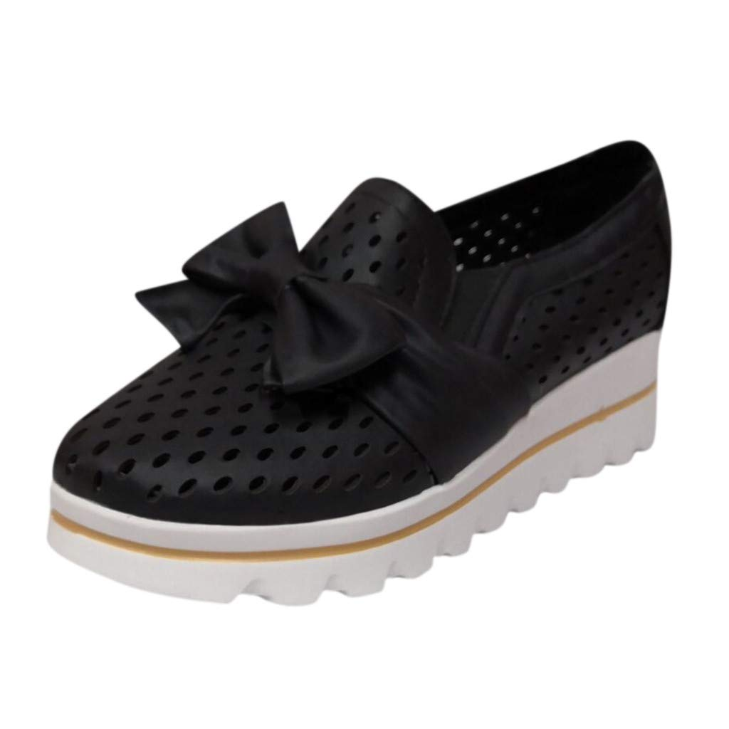 Dermanony Womens Slip on Sneaker Outdoor Leisure Fashion Bow Flat Mesh Breathable Wedges Walking Beach Casual Shoes Black by Dermanony _Shoes