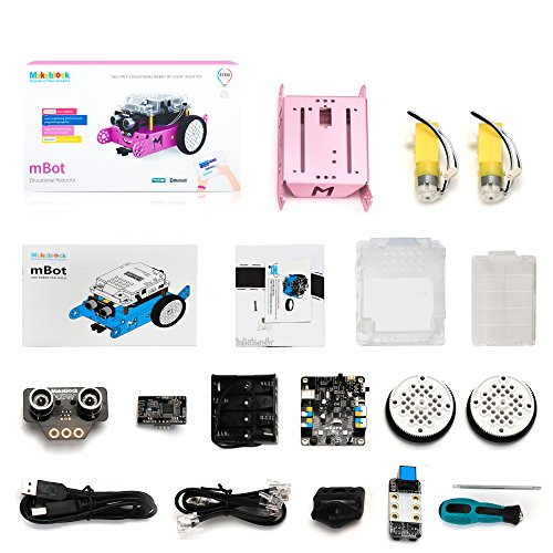 Makeblock mBot Robot Kit, DIY Mechanical Building Block, STEM Education, Entry-Level Programming Improves Kids' Logical Thinking and Creativity, Compatible with Lego(Pink, Bluetooth Version, Family)