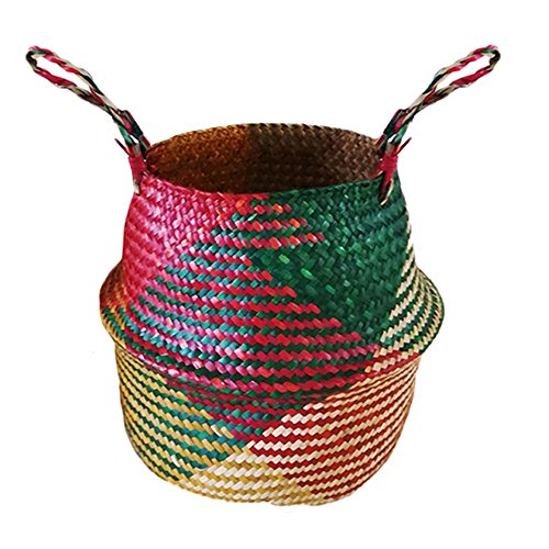 - Yunhigh Natural Seagrass Belly Basket Panier Hand Woven Basket with Handle Foldable Plant Flower Pot Toy Laundry Storage Organizer Picnic Beach Bag - Large