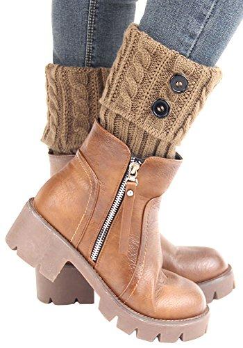 [X&F Women's Fashionable Button Knitted Short Boot Cuffs Socks Girls Leg Warmers Khaki] (Furry Boots Cheap)