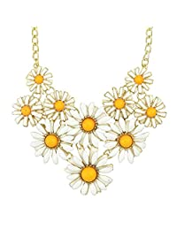 Feelontop® Yellow Enamel Flower Choker Necklace with Jewelry Pouch