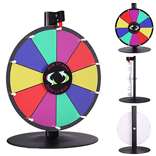 15'' Table Top Spinning Prize Wheel 10 Slot Dry Erase Fortune Spin Game by Happybeamy