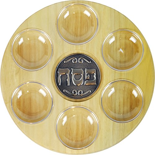 Passover Seder Plate Stylish Wood with Acrylic Liners - Modern Design