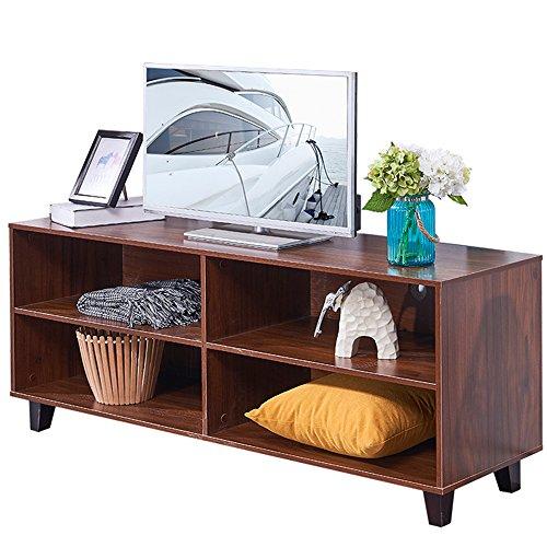 "DlandHome TV Stand WF-TVG001WT, 4-Cube, 58"" Entertainment Center Console Storage Cabinet, Composite Wood Board, Walnut, 1 Pack"