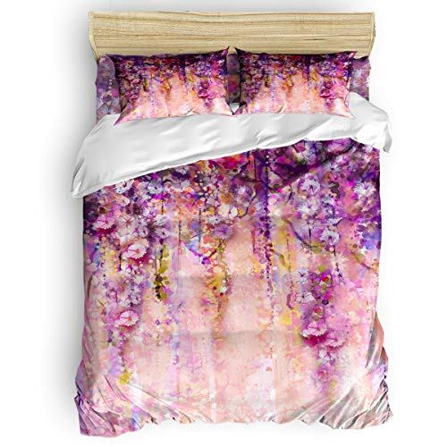 GreaBen King Beding Duvet Cover Sets 4 Pieces Comforter Cover Set,Spring Wisteria Dill Abstract Art Painting Bed Sheet Set for Girls Boys,Include 1 Comforter Cover 1 Bed Sheets 2 Pillow - Wisteria King Comforter