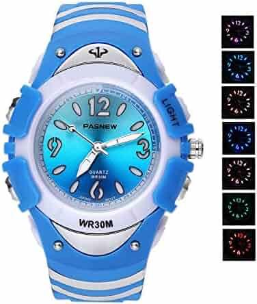7 Colors Flashing Luminous Pointers Waterproof Quartz Analog Digital Kids Watch Boys Girls Blue