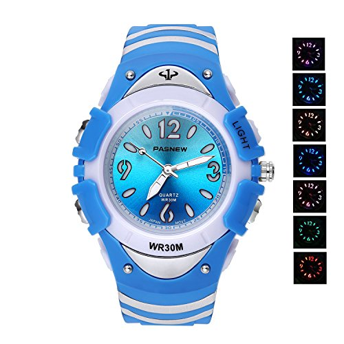 Price comparison product image 7 Colors Flashing Luminous Pointers Waterproof Quartz Analog Digital Kids Watch Boys Girls Blue