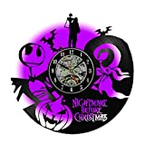 Meet Beauty Nightmare Before Christmas Creative Vinyl Record Wall Clock Unique Handmade LED Lamp Night Light Modern Hanging Home Art Decoration 7 Multicolor Changing(30Cm Black Circle)