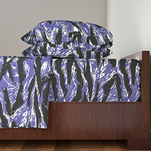 Tiger Stripes Purple Design - Roostery Purple 4pc Sheet Set Lady Tigerstripe Camo - Purple Colorway by Ricraynor Queen Sheet Set made with