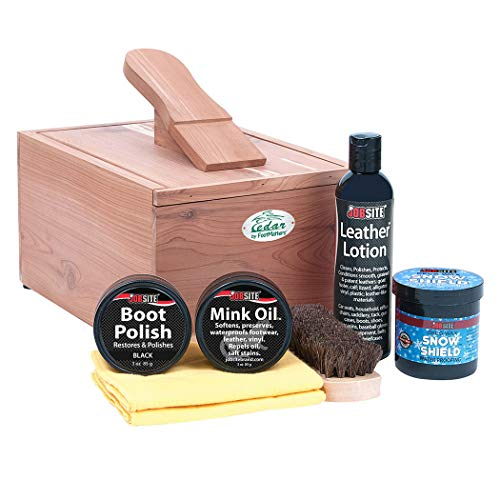 FootMatters Professional Shoe Shine Valet Kit - Includes Cedar Boot & Shoe Care Box, Horsehair Brush, Mink Oil, Waterproof, Polish, Leather Lotion