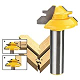 """Yakamoz 1/2"""" Shank 1-3/8 Diameter 45 Degree Lock Miter Router Bit Wood Cutter for Woodworking Drilling Power Tools"""