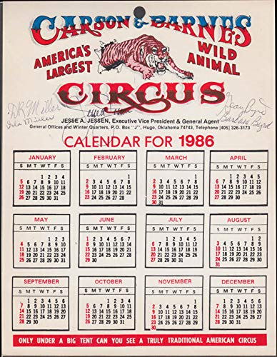 Carson & Barnes Wild Animal Circus Calendar 1986 SIGNED by 5 in cast