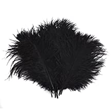 """12-14"""" (30~35cm) Real Natural Ostrich Feathers Great Decorations Black (50pcs)"""