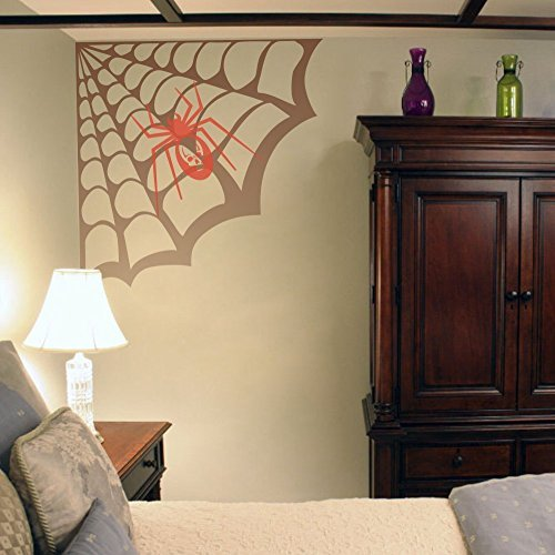 Funny Wall Decal Sticker Larger Spider Web Play Room Decal Creative Halloween Vinyl Art Room Corner Sticker (Small) Wall Art Vinyl Sayings Mural]()
