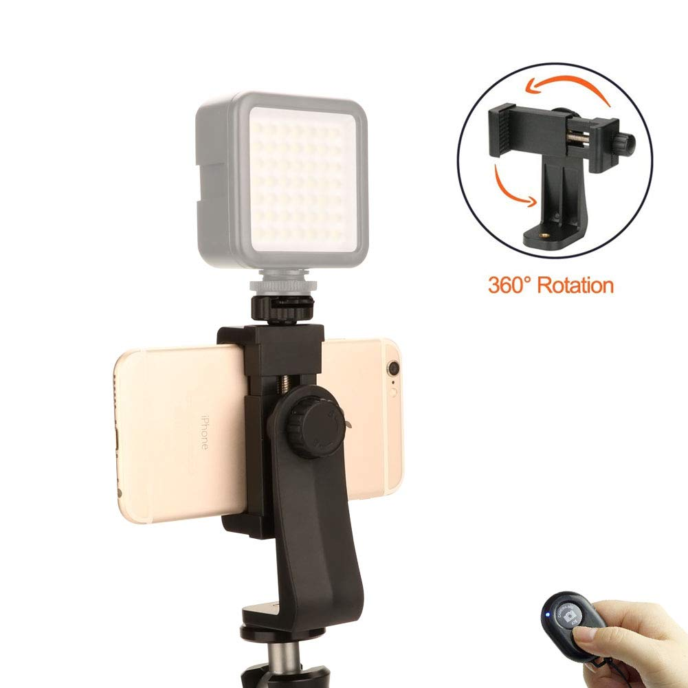 Universal Smartphone Tripod Adapter Cell Phone Holder Mount Adapter with Hot Shoe, Live Webcast Mount,Compatible with iPhone, Samsung, and all Phones, Rotates Vertical and Horizontal, Adjustable Clamp Jansite