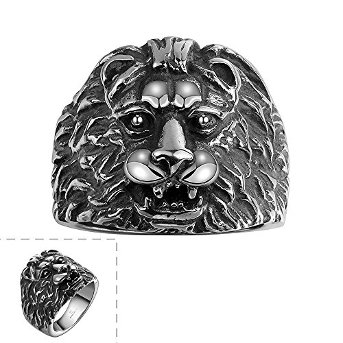Efloral Men's Stainless Steel Ring Band Silver Black Lion Gothic