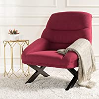 Martha Mid Century Modern Fabric Accent Chair (Deep Red)
