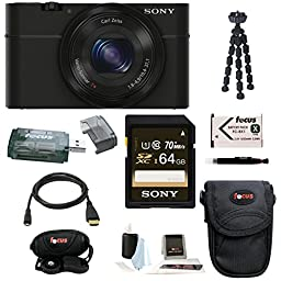 Sony Cyber-Shot DSC-RX100 20.2MP 3-Inch LCD Screen Digital Camera with 64GB SDXC Card and Premium Bundle (Black)