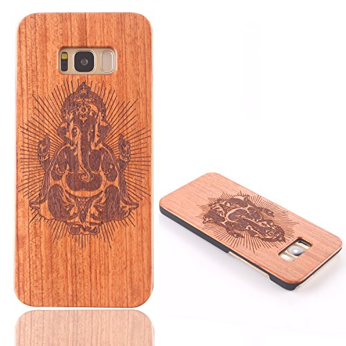 Funda Madera para Samsung Galaxy S8, Vandot Manual Natural Wood Bamboo Contraportada de Madera + PC Bumper Shell Tallado Funda Protectora para Samsung Galaxy S8 SM-G9500, Diseño de Ancla Anchor, Natur Mu+PC 06