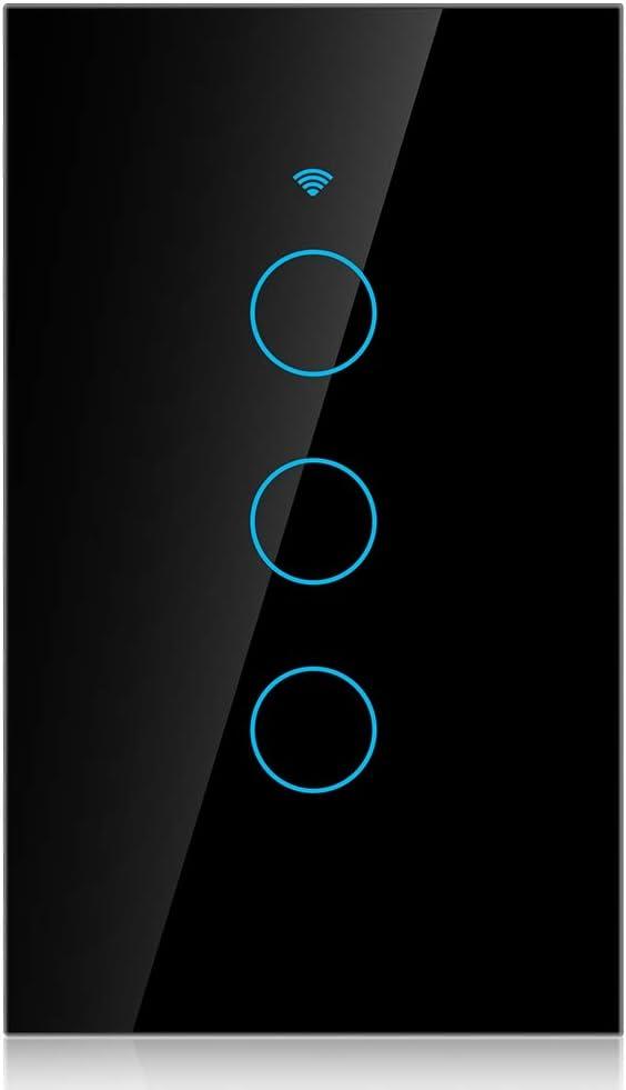 blanco iOS Android App Google Home Interruptor inteligente de pantalla t/áctil de cristal para adultescentes compatible con  Alexa con wifi