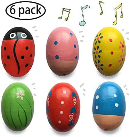 Jofan 6 Pack Wooden Percussion Musical Shake Egg Shakers for Kids Boys Girls Toddlers Christmas Stocking Stuffers