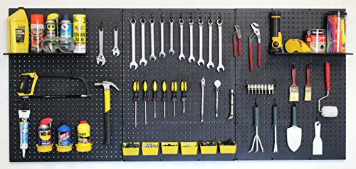 WallPeg Garage Tool Storage Kit Shelves,Part Bins, and Locking Peg Hooks (Black)