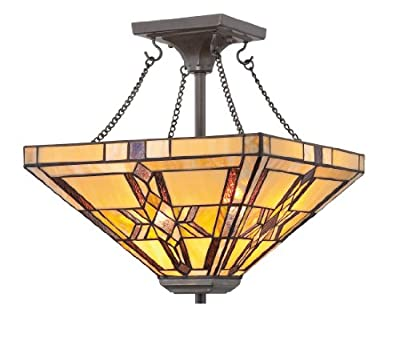Quoizel TFFT1714VB Finton 2 Light Tiffany Semi Flush Mount Lamp