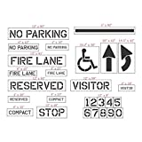 Parking Lot Stencil Kit - Complete 27 piece set made from durable 1/16'' (60 mil) LLDPE