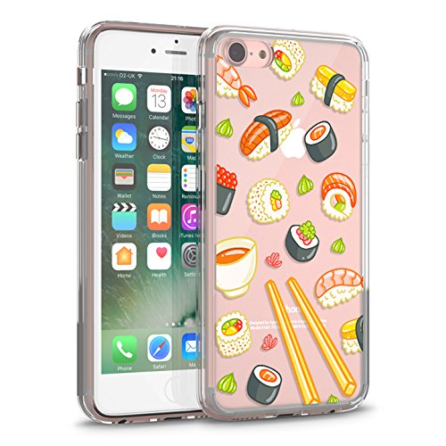 e 7 Clear Case, CASESOCIETY Sushi Clear Design Transparent Plastic Hard Slim Case with TPU Bumper Rubber Protective Cover for Apple iPhone 7 (4.7 Inch) ()
