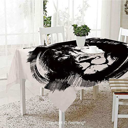 BeeMeng Spring and Easter Dinner Tablecloth,Kitchen Table Decoration,Lion,King of The Forest Lion Head Portrait Freedom Sketchy Monochrome Wild Animal Decorative,Black and White,59 x 83 inches