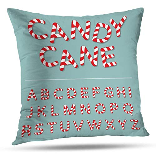 Kutita Cool Decorative Pillow Covers, Candy Alphabet Letter Christmas Font Winter Sweet Stripe Throw Pillow Decor Bedroom Livingroom Sofa 18X18 inch