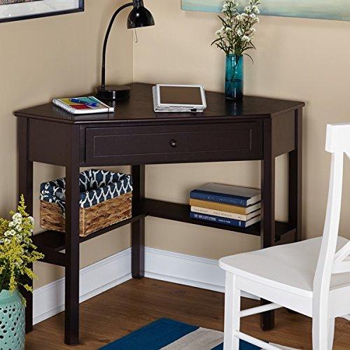 Simple Living Espresso Finish Corner Writing Desk Simple Living
