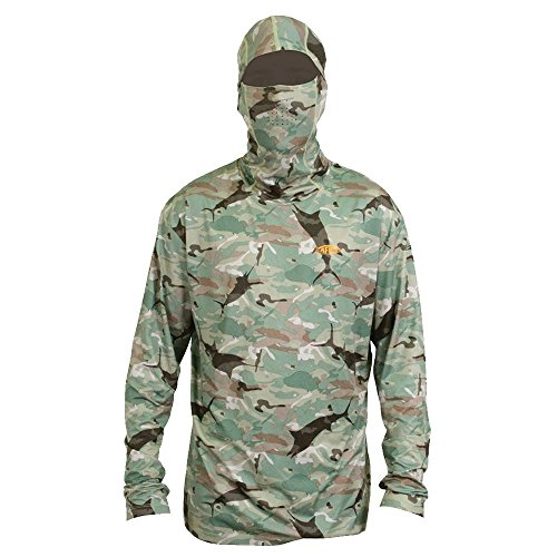AFTCO Fish Ninja 2 Ultra Performance Long Sleeve Shirt w/Hood - Green Camo - (Aftco Fish)