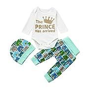 Kehen Newborn Baby Boys Tops + Bears Pants + Hat Little Sister Clothes 3Pcs Cotton Outfits Set (White, 6-12 Months)