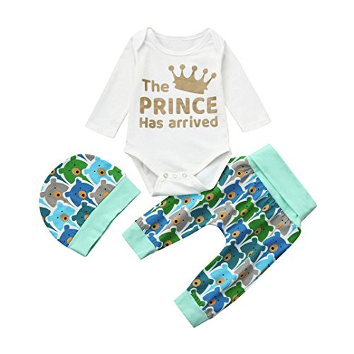 Prince Outfits (Kehen Newborn Baby Boys Tops + Bears Pants + Hat Little Sister Clothes 3Pcs Cotton Outfits Set (White, 0-6 Months))