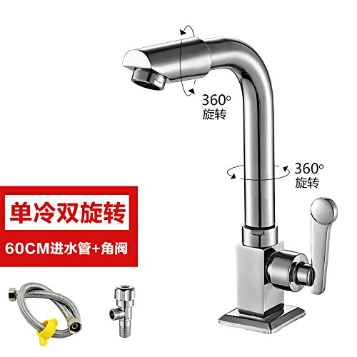 The Tap Water in the Main +60cm + Delta Valve Hlluya Professional Sink Mixer Tap Kitchen Faucet 360 double swivel single cold water faucet copper single cold basin basin washbasin balcony water taps, mixer body +80CM water inlet pipe