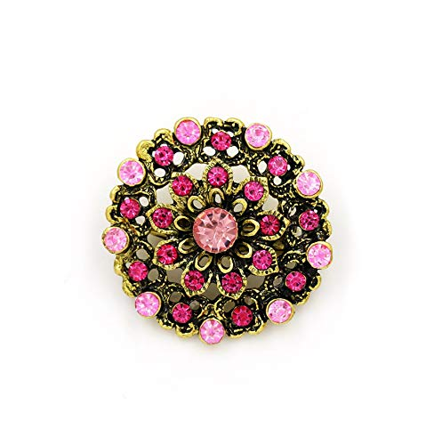 - SMALL FAT Retro Crystal Antique Gold Flower Brooches for Women Romantic Wedding Bridesmaid Rhinestone Party Bouquet Brooch Pin,629