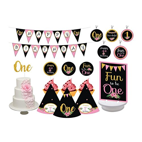 1st Birthday Girl Chalkboard. 1st Birthday Party for Girls. Turning One. Pink and Gold Chalkboard Theme. Includes Party Hats, Centerpieces, Bunting Banner, Danglers, Cupcake Toppers and Cake Topper. 1st Cupcake Centerpiece