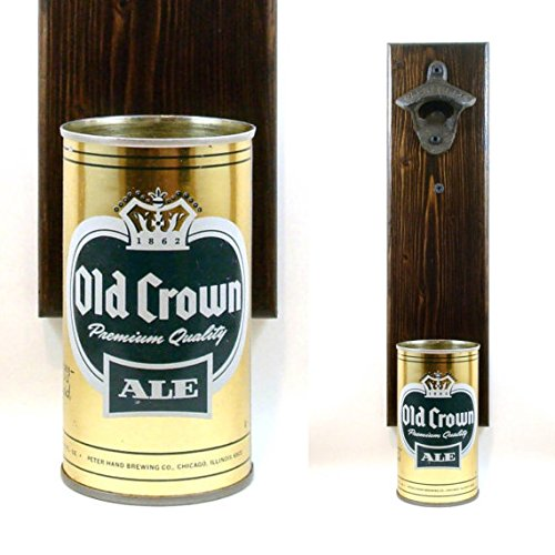 Old Crown Ale - Wall Mounted Beer Bottle Opener With A Vintage Old Crown Ale Beer Can Cap Catcher For The Man Cave