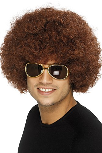 Smiffy's Unisex 70's Funky Brown Afro Wig, One (Afro Wig)