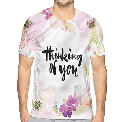 Mens t Shirt Romantic,Soft Floral Blossom Design HD Print t Shirt S