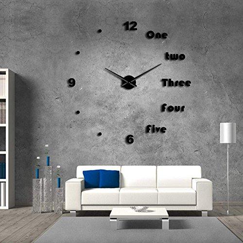 Suatimn DIY Large Wall Clock Modern Wall Art Home Decor Luxury Interior Design English Letters Frameless Wall Watch Clock DIY Enthusiast Black 47 Inch
