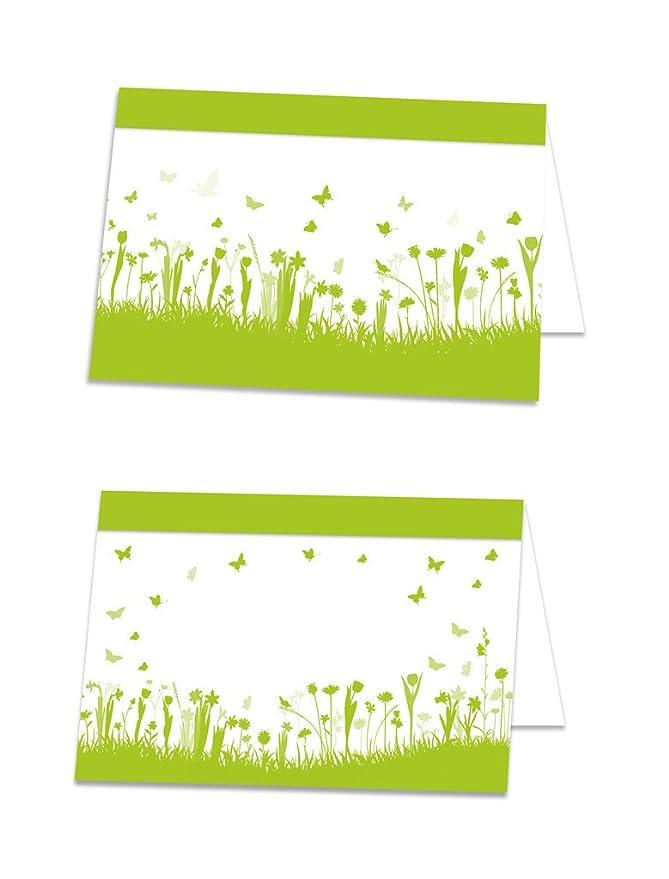 Tischkarten Platzkarten Gras Blumen 50 Stck DIN A7 Hochzeit,Taufe,Geburtstag