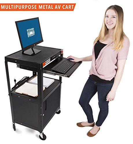 AV Cart & Locking Cabinet by Stand Steady - Includes Pullout Keyboard Tray, Easy Locking Wheels and Cord Management! Great for School & Office (42x24x18) (AV Cart + Cabinet - Black)