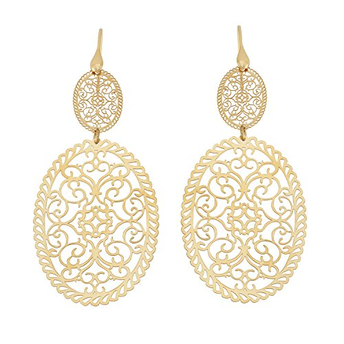 14K Yellow Gold or Rhodium Plated 925 Sterling Silver Cut Out Filigree Oval Dangle Earrings 14k Yellow Gold Rhodium Plated