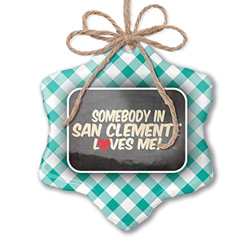 NEONBLOND Christmas Ornament Somebody in San Clemente Loves me, California Pastel Mint Green Plaid