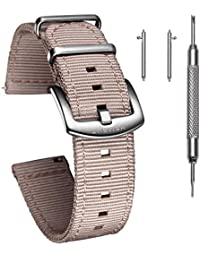Quick Release Watch Khaki Bands, 20mm Watch Band with 1.5mm Thickness, Quality Nylon Strap and Heavy Duty Brushed Buckle