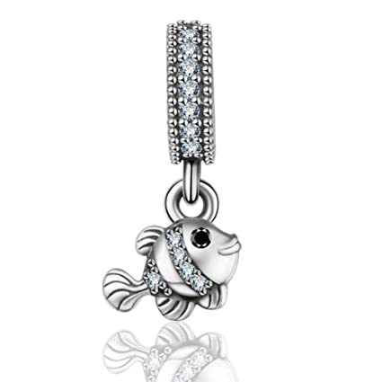 dac1a316d Amazon.com: 925 Sterling Silver Fish Charm Animal Charm Birthday Charm Love  Charm for Pandora Charm Bracelet: Arts, Crafts & Sewing
